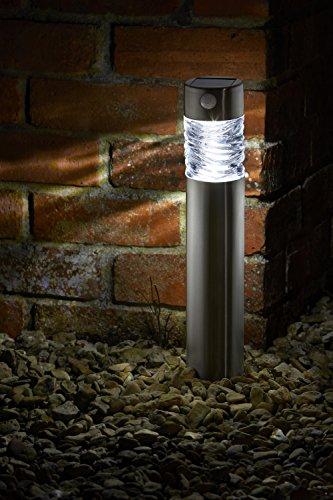 LED Solarleuchte mit Bewegungsmelde aus hochwertigem Edelstahl und echtem Glas hergestellt | exklusive Solar Lampe, perfekt für Garten Dekoration, Wegbeleuchtung und vieles mehr (einzeln)