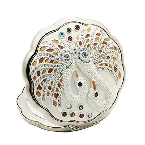 Miroir de poche pliant maquillage Portable Vintage cristal ronde Miroirs double face Miroir pour les femmes