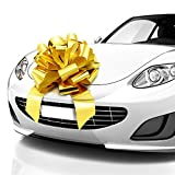 MIFFLIN Big Car Bow (Gold, 18 inch), Gift Bow, Giant Bow for Car, Birthday Bow, Huge Car Bow, Car Bows, Big Gold Bow, Bow for Gifts, Christmas Bow for Cars, Gift Wrapping, Big Gift Bow