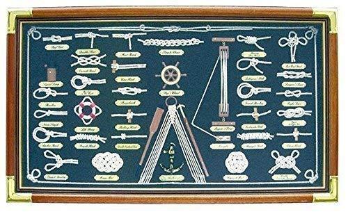 Grande Tabla de Nodos en Vitrina de Cuadros con Timón , Carteles en Inglés