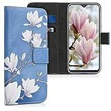 kwmobile Wallet Hülle kompatibel mit Samsung Galaxy A20e - Hülle Kunstleder mit Kartenfächern Stand Magnolien Taupe Weiß Blaugrau