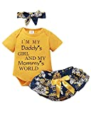 Baby Girl Clothes Short Yellow Top Toddler Girl Clothes Cute Letter Pattern Onesie Baby Girls' Clothing Summer Short Flower Romper Culottes with Headband 3PCS 12-18 Months