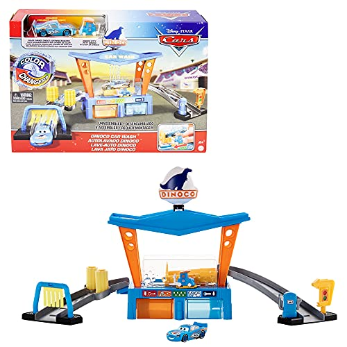 Disney Cars Toys and Pixar Cars Color Change Dinoco Car Wash Playset with Pitty and Exclusive Lightning McQueen Vehicle, Interactive Water Play Toy for Kids Age 4 Years and Older (GTK91)
