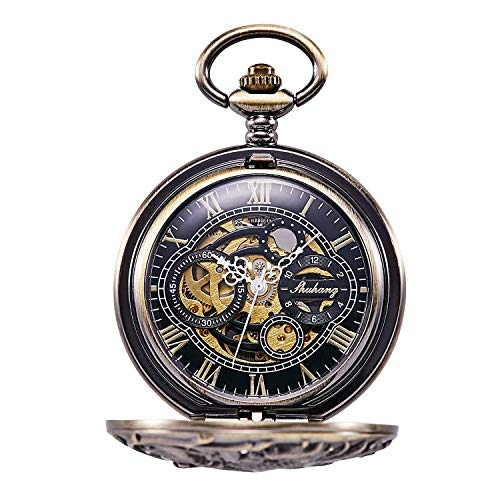 『TREEWETO 機械式 手巻き 懐中時計 両面蓋 龍透かし ローマ数字 ブロンズ スケルトン チェーン 付き』の2枚目の画像