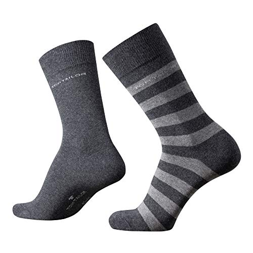 TOM TAILOR Herren Socken New Stripe anthrazit Doppelpack grau gestreift + uni, Size:43-46