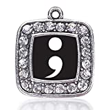 Inspired Silver Semicolon Movement Loose Square Charm with Crystal Rhinestones