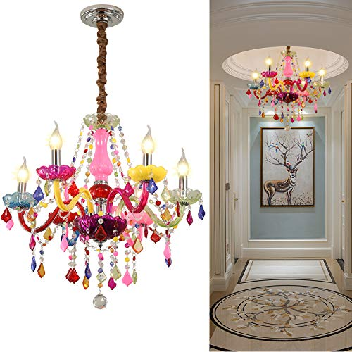 Colorful Chandelier Crystal 6 Lights Pendant Ceiling Lighting Fixture for Girl,Children's Room,Dinning Room Entry Crystal Chandelier (Colorful, 6 Lights)