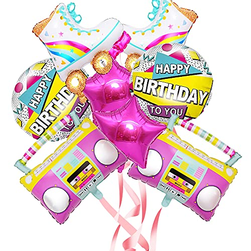 8 x 1980's Themed Happy Birthday Boombox and Rollerskate Themed Party Balloons.