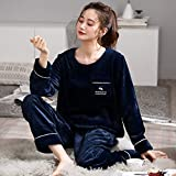 VBHJK Women's Pyjama Sets,Nightwear Warm Long Sleeve Top and Pants Royal Blue Flannel Thick Round Neck Striped Pocket Autumn Winter Cosy Soft Casual Loungewear For Lady Jogging,XXL