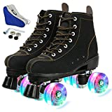 Womens Classic Roller Skates High-top Double-Row Four Wheels Cowhide Outdoor Skating for Youth Boys Girls with Shoes Bag (Black flash wheel,40-US:8.5)