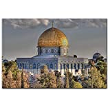 Masjid Al Aqsa of The Rock Cavans Pintura Realista Mezquita Carteles e Impresiones Imagen de Arte de Pared para Sala de Estar Decoración del hogar 19.7x27.6in (50x70cm) x1pcs Sin Marco