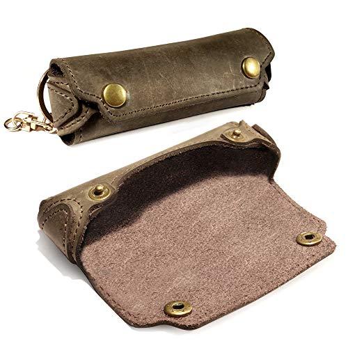 TUFF LUV Western Leather Rustic Harmonica Case with Belt Loop - Brown