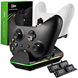 Xbox One Controller Charger, GAFA Dual Xbox One/One S/One Elite Charging Station with 4 x 800mAh Rechargeable Battery Packs for Two Wireless Controllers Charge Kit– Black