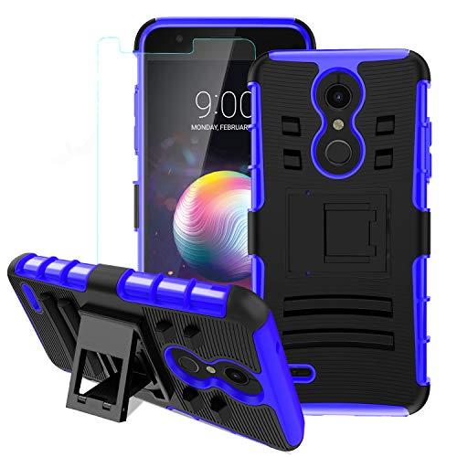 LG K30 Case,LG K10 2018/LG Xpression Plus/LG Harmony 2/LG Phoenix Plus/Premier Pro LTE Case w/Screen Protector,Kickstand Heavy Duty Shockproof Protective Phone Cover,Blue