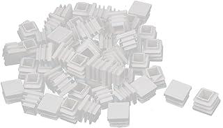 sourcing map 16mm x 16mm Tapón Blanco Cuadrado de plástico de inserción en el Tubo para