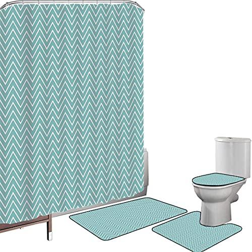Juego de cortinas baño Accesorios baño alfombras Azul Alfombrilla baño Alfombra contorno Cubierta del inodoro Ocean Sea Wave Like Zig Zag Lines Minimalista,verde menta y blanco Impermeable antidesliza