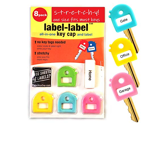 STRETCHEE. Key Cover caps. Free Key Chain! Free Labels! Stretchy Material -One Size Fits Most Keys -Blank & Printed Labels - 8 Caps. 4 'Pastel' Colors