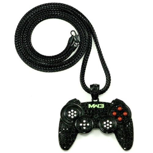 B-Creative Collar con colgante de joypad con mando de juego de 90,6 cm, cadena Franco Bling MW3, color negro