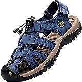 Lvptsh Sandali Sportivi Uomo Cuoio Sandali Trekking Sandali Estivi Chiusi Sandali da Mare All aperto Spiaggia Pescatore Antiscivolo