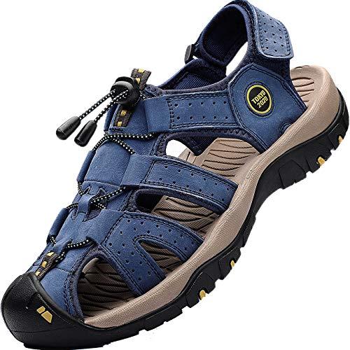 Lvptsh Sandali Sportivi Uomo Cuoio Sandali Trekking Sandali Estivi Chiusi Sandali da Mare All'aperto Spiaggia Pescatore Antiscivolo