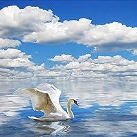 カスタム3D写真の壁紙HD白鳥カモメ青い空と白い雲海のソファーTV背景壁壁画壁紙-400x300cm