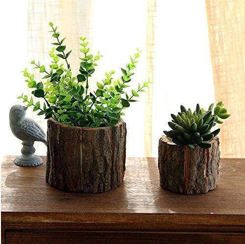 Cratone 2er Set Blumentopf aus Holz,Blumentöpfe Mini Rund Natürliche Kleine Pflanztrog Pflanze Töpfe Kreativ Hartholz Garden Blume Pflanzschalen