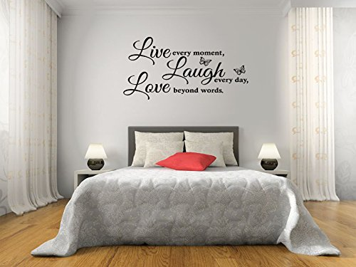 Adhesivo de pared con texto en inglés 'Live Everyday with Love', vinilo para el hogar, color gris oscuro, extragrande, 113 cm de ancho x 57 cm de alto, color azul marino profundo, tamaño mediano, 57 cm de ancho x 28 cm de alto.