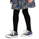 """COTTON DAY School Girls Plain Cotton Knit Tight Pack of 2 (Black, Size 6 Height 41""""-46"""" Weight 50-62 lbs)"""