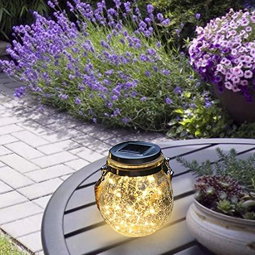 lingzhuo-shop Solar weckpot licht solar glas hanglamp buiten hangende zonnelamp voor buiten tuin binnenplaats fijn