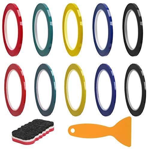 BIGKASI 10Rolle Whiteboard Tape Graphic Chart Klebeband Markierbänder Linien buntes Grid Selbstklebeband dünne Klebebänder für Etikett Einstufung (5 pcs 3mm x 66m + 5pcs 6mm x 66m, 5 Faben)