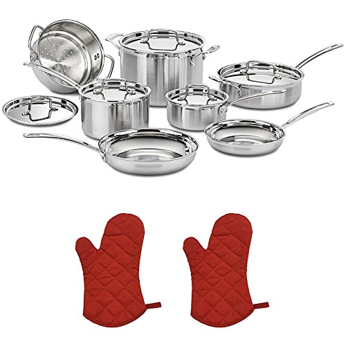 Cuisinart (MCP-12N Multiclad Pro Tri-Ply Stainless Steel 12-Piece Cookware Set with 2X Red Oven Mitt