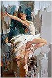 Surfilter pintura al óleo abstracta de niña de ballet en lienzo, carteles e impresiones, bailarina, cuadro de arte de pared para decoración de sala de estar, 30x40 cm /11.8x15.7 sin marco