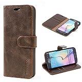 Mulbess Handyhülle für Samsung Galaxy S6 Edge Hülle, Leder Flip Hülle Schutzhülle für Samsung Galaxy S6 Edge Tasche, Vintage Braun