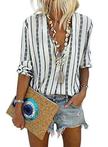 Astylish Women Casual Deep V Neck Button Down Stripe Print Long Sleeve Shirt Tops Medium 8 10 Black