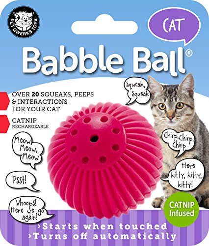Pet Qwerks Cat Babble Ball with Catnip Infused, Interactive Cat Toy