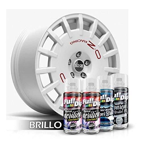 AutoFullCar - Pack Pintura ACRÍLICA para Llantas Brillo - Aparejo Pintura Y Barniz - Negro, Aluminio, Blanco, Azul Metalizado (Aluminio Metalizado Brillo)