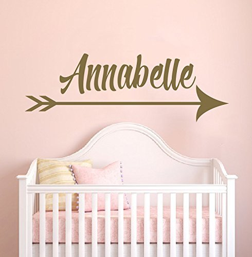 Custom Name Golden Arrow Prime Series Baby Girl Nursery Wall Decal For Baby Room Decorations Mural Wall Decal Sticker For Home Children'S Bedroom
