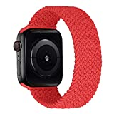 MroTech Correa Compatible con Apple Watch 40mm 38mm Pulseras de Repuesto para iWatch SE Serie 6 5 4 3 2 1 Correa de Reloj de Nailon elástico Banda Elastic Nylon Woven Loop Sport Band 38/40 mm-Rojo/S