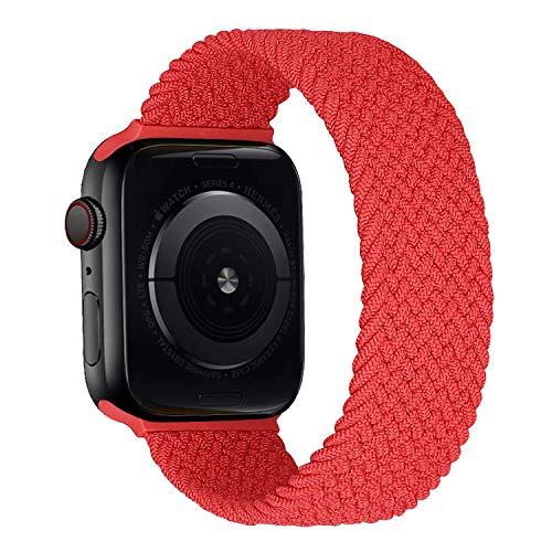 MroTech Correa Compatible con Apple Watch 44mm 42mm Pulseras de Repuesto para iWatch SE Serie 6 5 4 3 2 1 Correa de Reloj de Nailon elástico Banda Elastic Nylon Woven Loop Sport Band 42/44 mm-Rojo/M