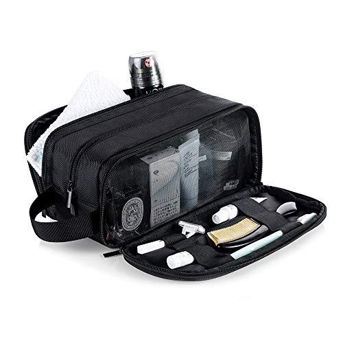 Impermeable Bolsas de Aseo de Viaje para Hombre y Mujer Grande Bolsa de Viaje de Lavado Kit de Afeitado Dopp Portátil Organizador de Maquillaje Baño Gimnasio con Bolsa de Almacenamiento Gratis (Negro)
