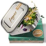freigeist Lunchbox Edelstahl auslaufsicher 1400ml   Brotdose Edelstahl mit herausnehmbarer Trennwand u. 2 Silikon-Dichtungen für Kinder u. Erwachsene   Brotbox Edelstahl geschmacksneutral