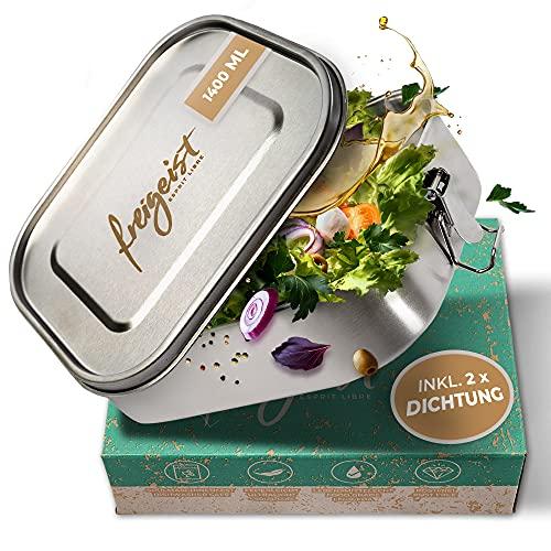 freigeist Lunchbox Edelstahl auslaufsicher 1400ml | Brotdose Edelstahl mit herausnehmbarer Trennwand u. 2 Silikon-Dichtungen für Kinder u. Erwachsene | Brotbox Edelstahl geschmacksneutral