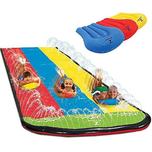 Triple Lane Slip, Water Slide Slip 16 Foot Splash and Slide for Backyards ( Newest Version), 3 Sliding Racing Lanes & Sprinklers, Water Slide with 3 Boogie Boards, Durable Quality PVC Construction