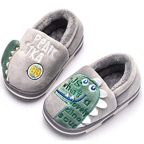 Zapatillas de Estar por Casa para Niños Niñas Pantuflas Invierno Casa Caliente Peluche de Zapatilla Slipper Interior Gris 22=31-32EU