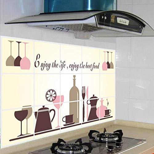 Muurstickers hoogwaardige keuken-olie-Proof Stickers Aluminium folie Materiaal hoge temperatuur Anti-Smoke Fornuis Muurstickers Wijnglas Servies