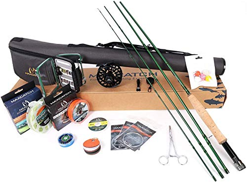 MAXIMUMCATCH Premier Fly Fishing Rod and Reel Combo Complete 9' Fishing Outfit (5 wt -9' Half-Handle...