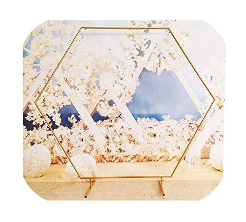 N/A sechseckiger Hochzeitsbogen mit Diamanten, Schmiedeeisen, Party-Hintergrund, Dekoration, Heimwerker, Party-Weg, Kunstblumen-Dekoration, Gold, 2 m
