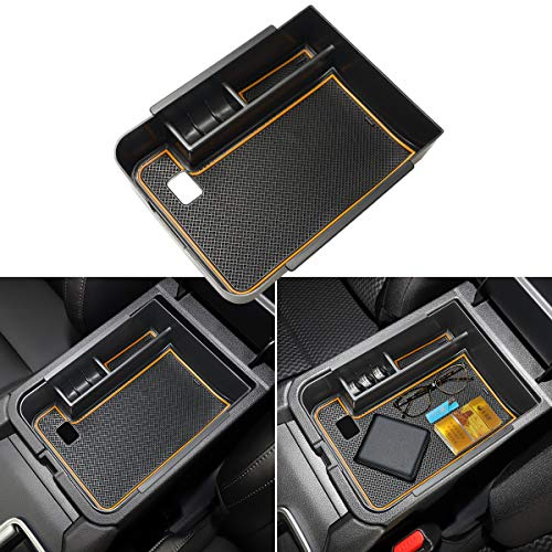 Auovo Center Console Organizer Tray for Nissan Sentra Accessories 2020 2021 ABS Plastic Secondary Armrest Storage Glove Box with Coin Holder for 2021 Nissan Sentra (Orange)