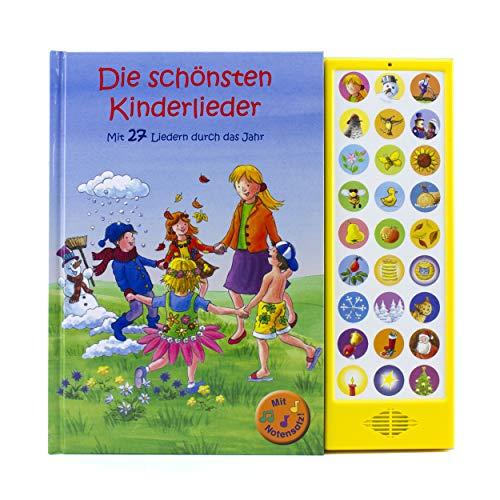 27-Button Soundbuch - Die schönsten Kinderlieder zum Mitsingen - Mit 27 Liedern durch das Jahr Hardcover-Buch mit Noten - Liederbuch: mit 27 bekannten Kinderliedern