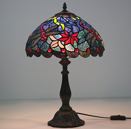 Lámpara Tiffany de 30,5 cm, diseño de libélula roja.